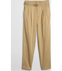 pantalon belted mujer beige gap