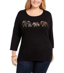 karen scott plus size cotton elephant-print top, created for macy's
