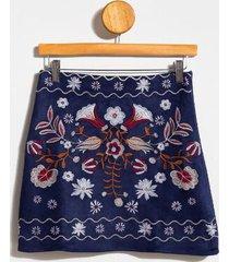 billie embroidered mini skirt - navy