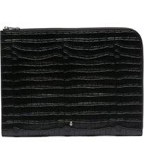 alexander mcqueen crocodile effect half-zip pouch - black