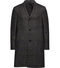 wool blend glencheck coat wollen jas lange jas zwart calvin klein