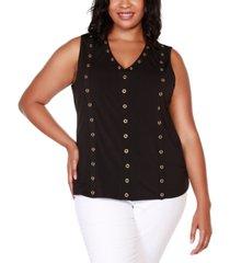 belldini black label plus size embellished sleeveless v-neck top