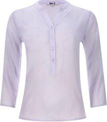 blusa unicolor translucida color morado, talla l