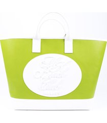 michael kors collection mk beach club leather tote green/white sz: l