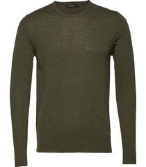 newman-perfect merino gebreide trui met ronde kraag groen j. lindeberg