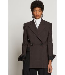proenza schouler check suiting asymmetrical blazer charcoal/black check/grey 4