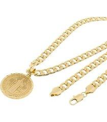 kit medalha são bento tudo joias com corrente grumet 8mm e 60cm folheado a ouro 18k