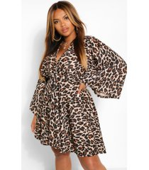 plus leopard plunge kimono skater dress, tan
