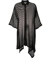 off-white mesh cape dress - black