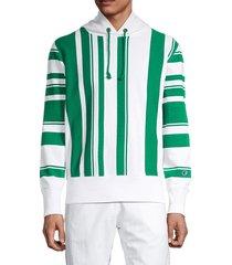 champion men's reverse weave warm up hooded cotton sweatshirt - chalk white - size s