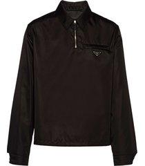 prada re-nylon zip-placket shirt - black