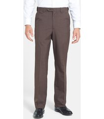 men's berle self sizer waist plain weave flat front washable trousers, size 38 x unh - brown
