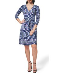leota print jersey faux wrap dress, size small in retro stripe lavender crystal at nordstrom