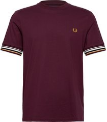 striped cuff t-shirt t-shirts short-sleeved brun fred perry