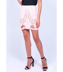 falda bordada de mujer aishop aw172-h20056c rosa