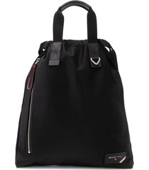 bally nylon drawstring backpack - black