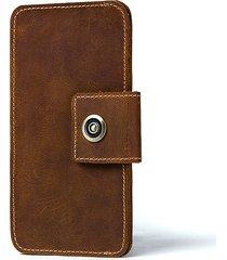 portafoglio da uomo in pelle bovina vintage solido con cinturino borsa