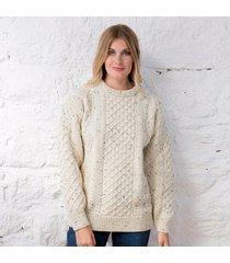 women's springweight new wool crew neck sweater beige xxl