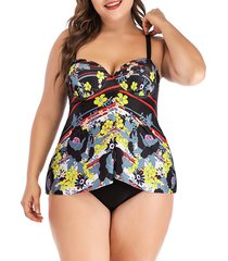 floral front slit underwire push up plus size tankini swimwear