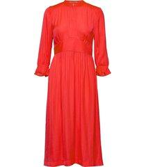 midi length dress with fitted waist jurk knielengte rood scotch & soda