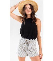 ramona scalloped waist shorts - black/white