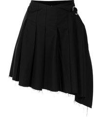 rokh side-buckle pleated skirt - black