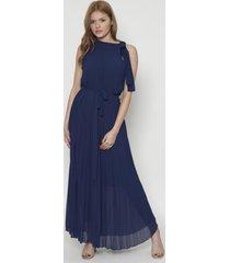 vestido largo unicolor midi style azul 609seisceronueve