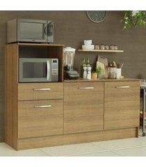 balcão madesa onix 180 cm 3 portas 1 gaveta e nicho para forno - rustic marrom