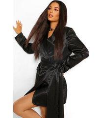gedrapeerde satijnen blazer jurk met ceintuur, zwart