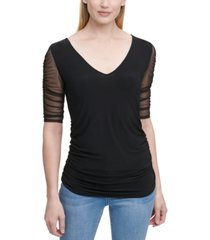 dkny sheer-sleeve ruched top
