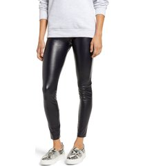 hue faux leather high waist leggings, size medium in navy at nordstrom