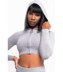 akira in a dream long sleeve front zip sweater
