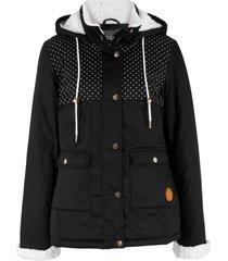 giacca con cappuccio in pellicciotto sintetico (nero) - bpc bonprix collection
