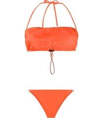heron preston ripstop drawstring bikini set - orange