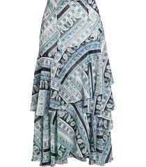 printed ruffle midi skirt