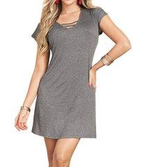 envío gratis vestido clara gris  para mujer croydon