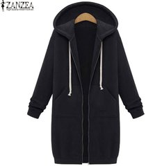 women casual  black long hoodies  pockets zip up outerwear hooded jacket