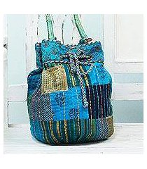 cotton shoulder bag, 'patchwork pleasure' (india)