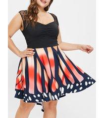 plus size sweeheart neck butterfly print vintage dress