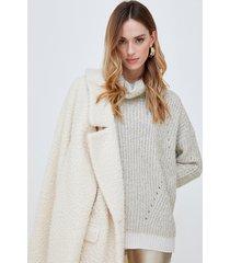 motivi cappotto in maglia bouclè donna bianco