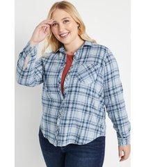 maurices plus size womens cabin plaid blue button down shirt