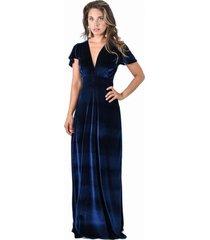 vestido largo york azul marino ter maria paskaro