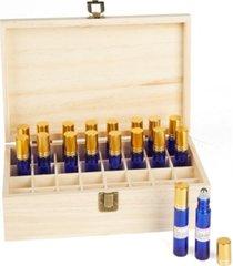 mind reader essential oil wooden storage box organizer, brown