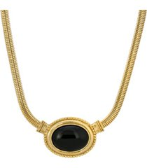 2028 gold-tone semi precious oval necklace