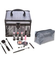 maleta de maquiagem fenzza fz-mt98gt-d make up clear grafite