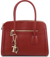 tuscany leather tl141285 tl keyluck - borsa a mano media in pelle morbida rosso
