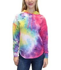 almost famous juniors' ripped tie-dyed hoodie
