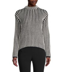 endless rose women's striped knitted sweater - white black - size m
