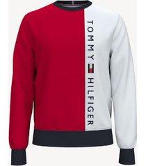 tommy hilfiger men's essential colorblock crewneck sweatshirt apple red/ navy/white - xs