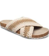 yvonne crochet sandal shoes summer shoes flat sandals beige becksöndergaard